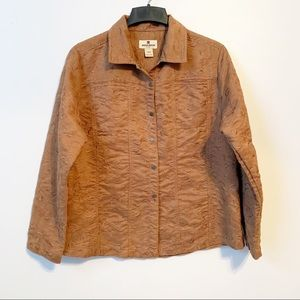Woolrich Fawn Tan Embroidered Coat Button Front
